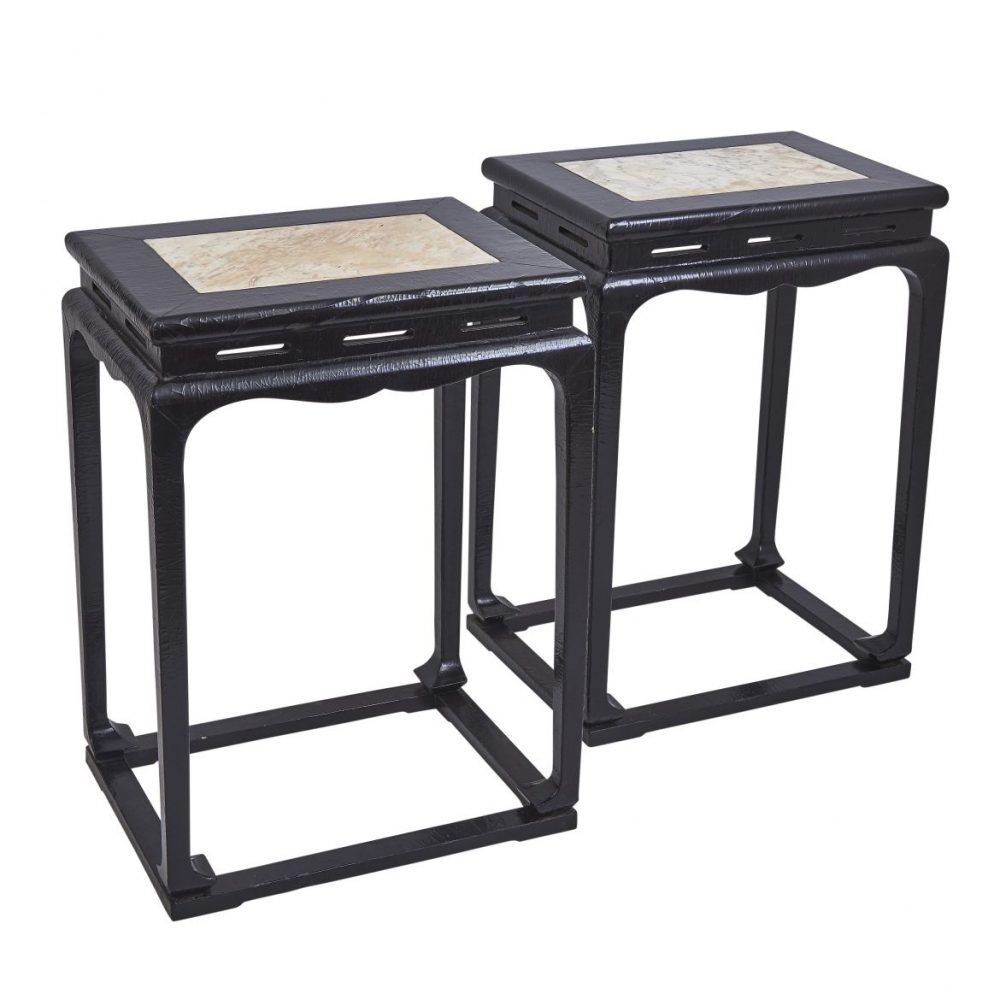 Pair Chinese Lacquer Tea Tables