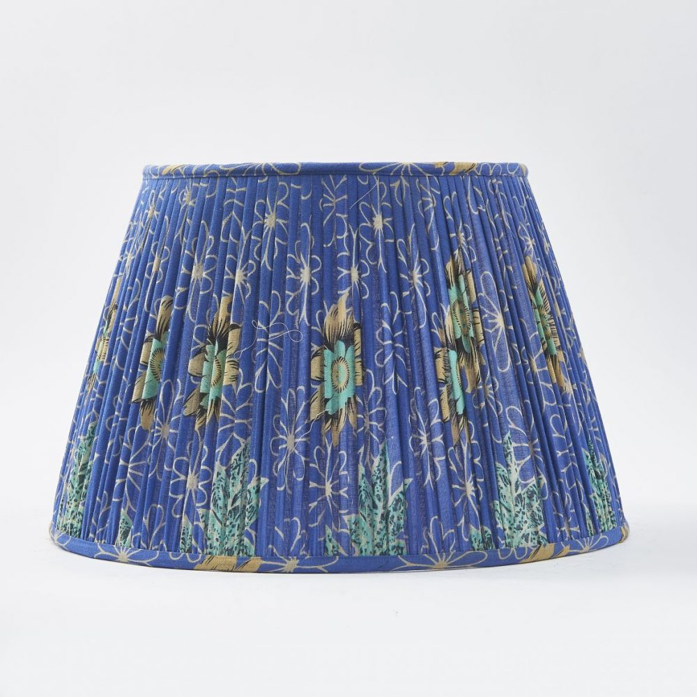 Single Lampshade Made From Vintage Blue Sari Fabric