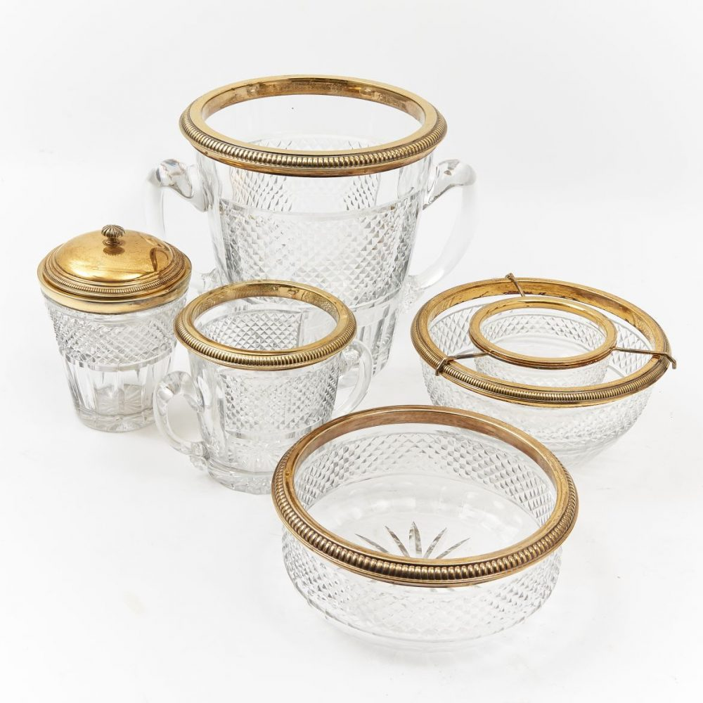 French Silver Gilt And Crystal Set Including Ice Bucket And Caviar Dish