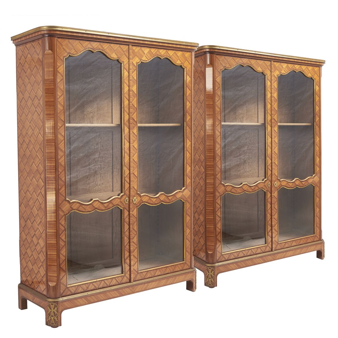 Pair French Louis XV Style Tulipwood Veneered Display Cabinets