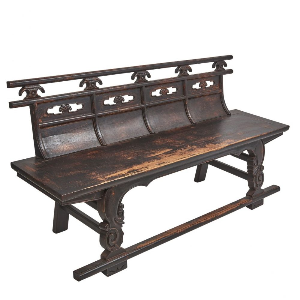 Chinese Shanxi Province Lacquered Elm Bench
