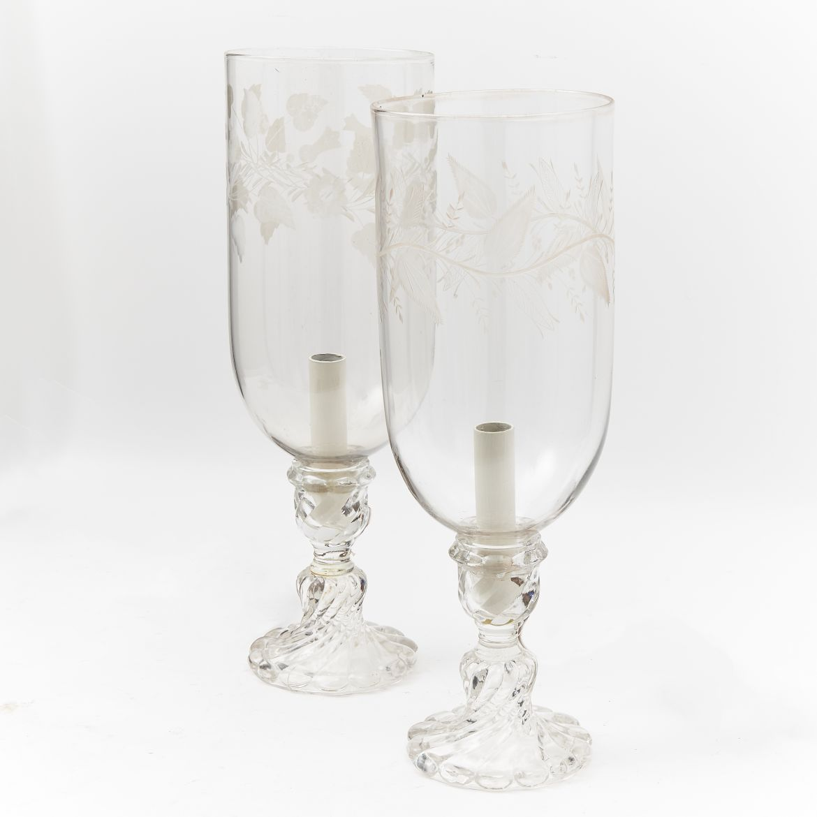 Matched Pair of Etched C19th Hurricane Shades