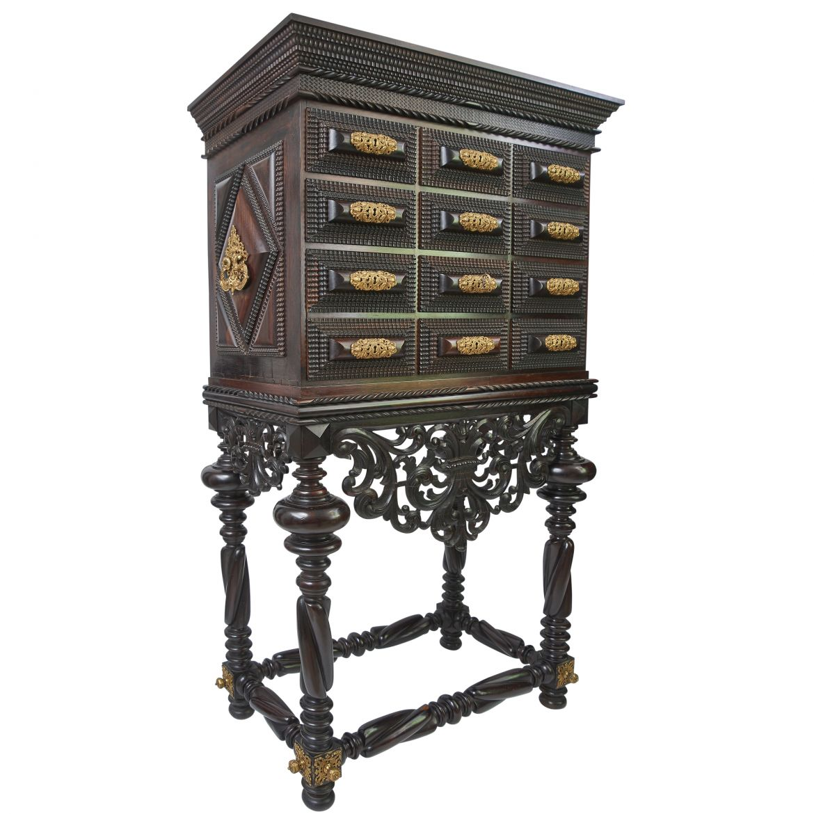Indo Portugese Ripple Moulded Ebony And Rosewood Collector's Cabinet On Stand