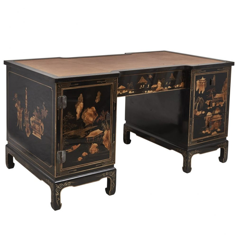 French Black Lacquer And Gilt Chinoiserie Pedestal Desk