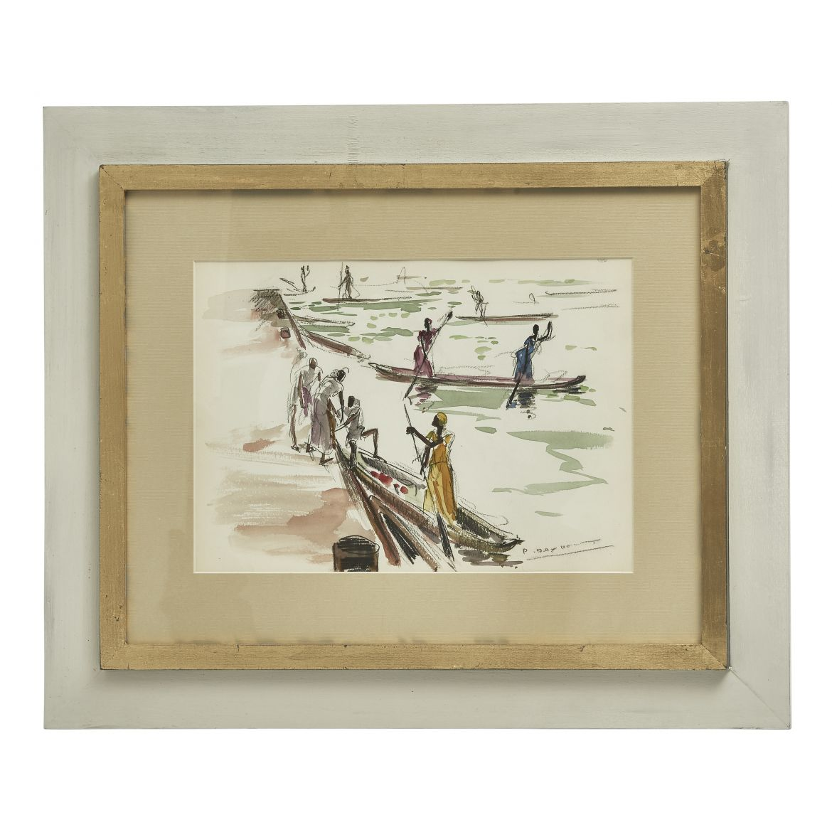 African Fishing Watercolour By Paul Daxhelet