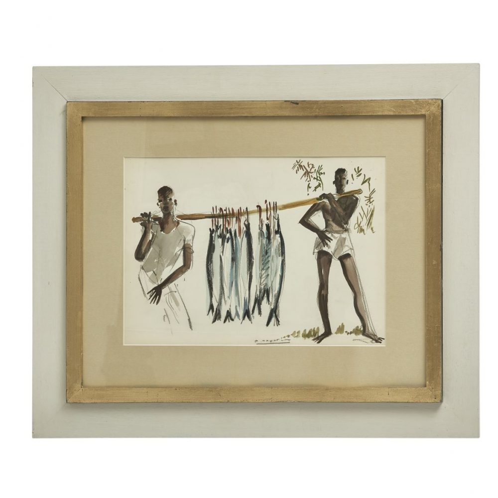 Paul Daxhelet Watercolour Of Catch Of The Day