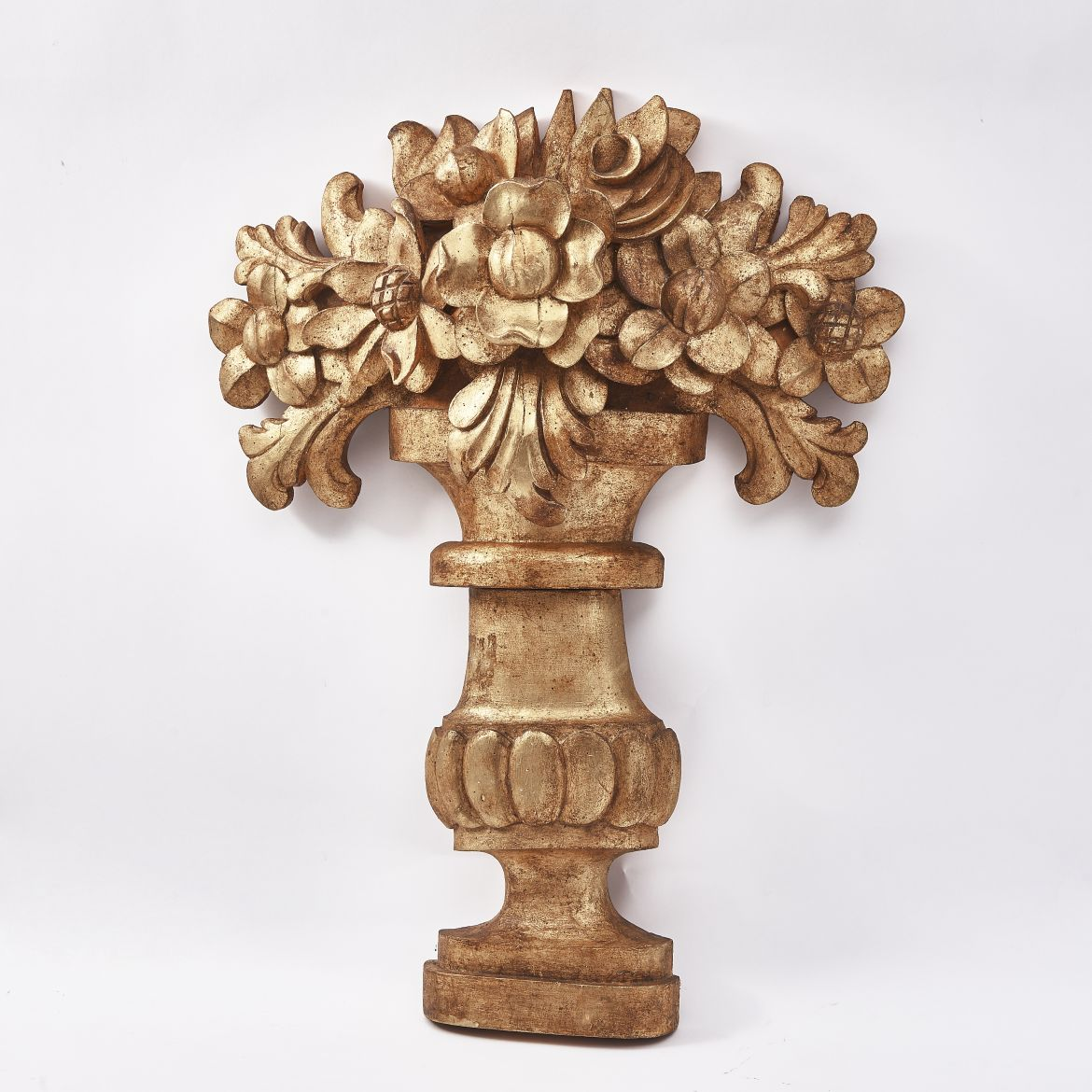 French Carved Giltwood Basket Of Flowers