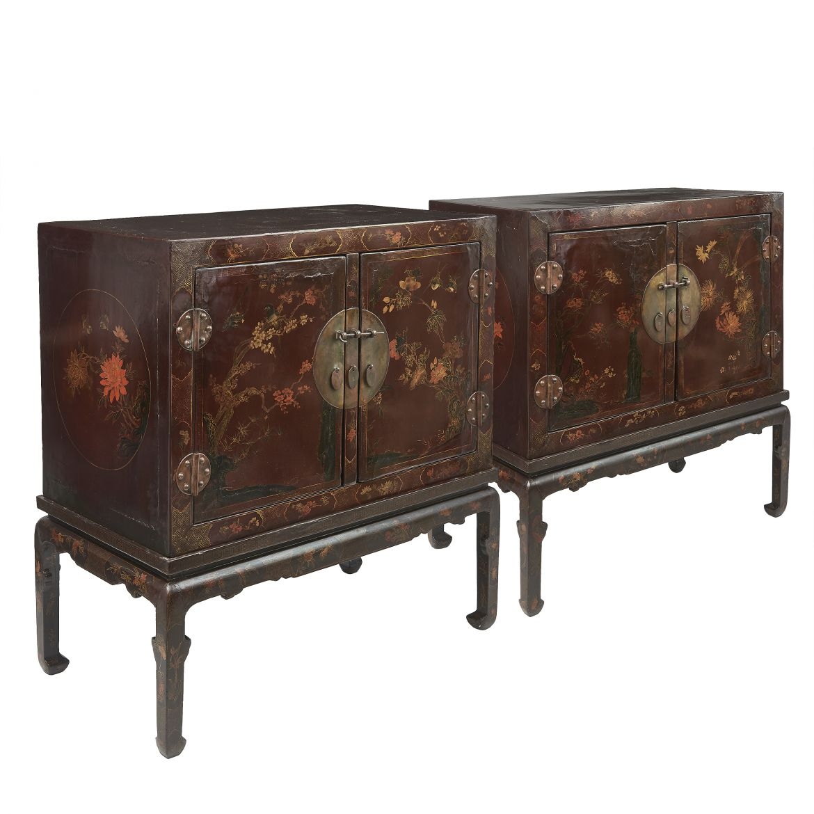 Pair Large Gilt And Polychrome Lacquer Cabinets On Stands