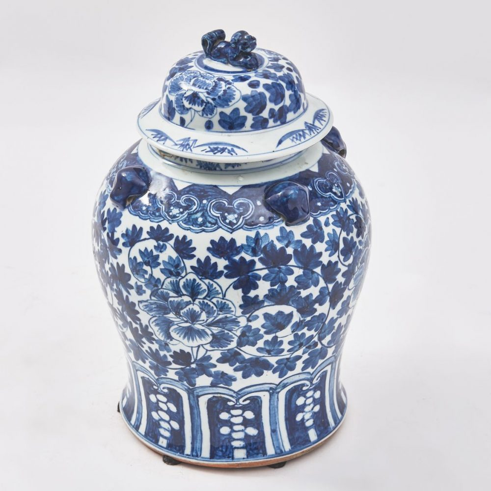 Chinese Blue And White Temple Jar And Lid