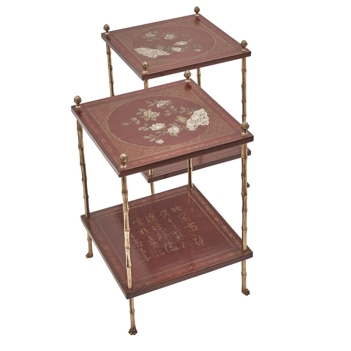 Pair French Square Tables With Red Lacquer Tops Attributed To Bagues