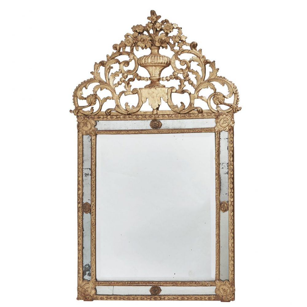 French Regence Carved Giltwood Miroir A Parecloses