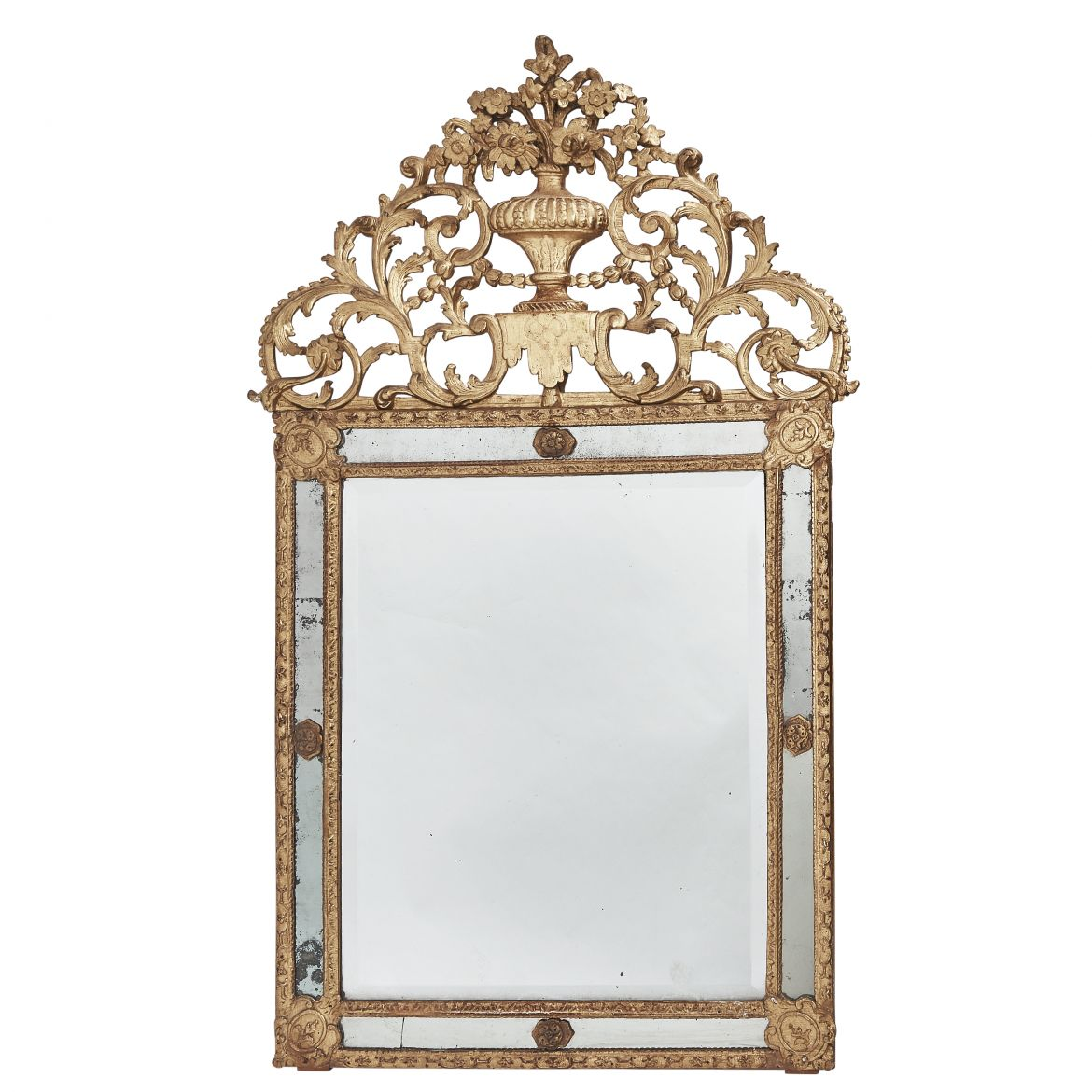 French Regence Carved Giltwood Mirroir A Parecloses