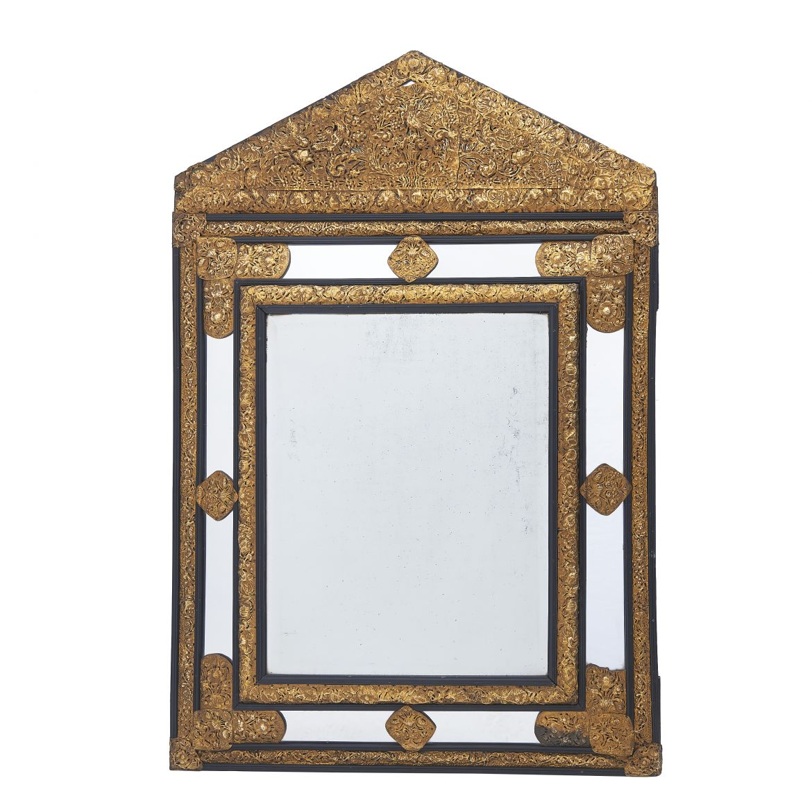 Dutch Brass Repoussé Cushion Mirror