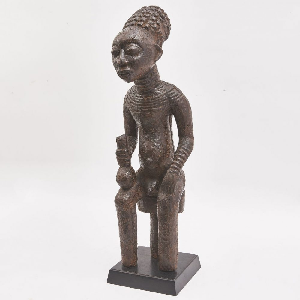 Carved Wood Tribal Commemorative Figure Of A Chief, Cameroon