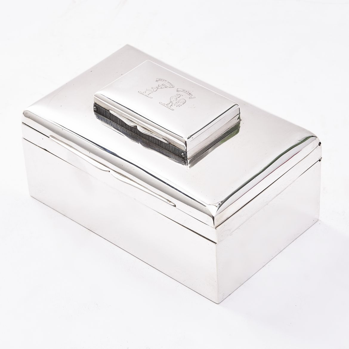 English Silver Stacking Cigarette Box