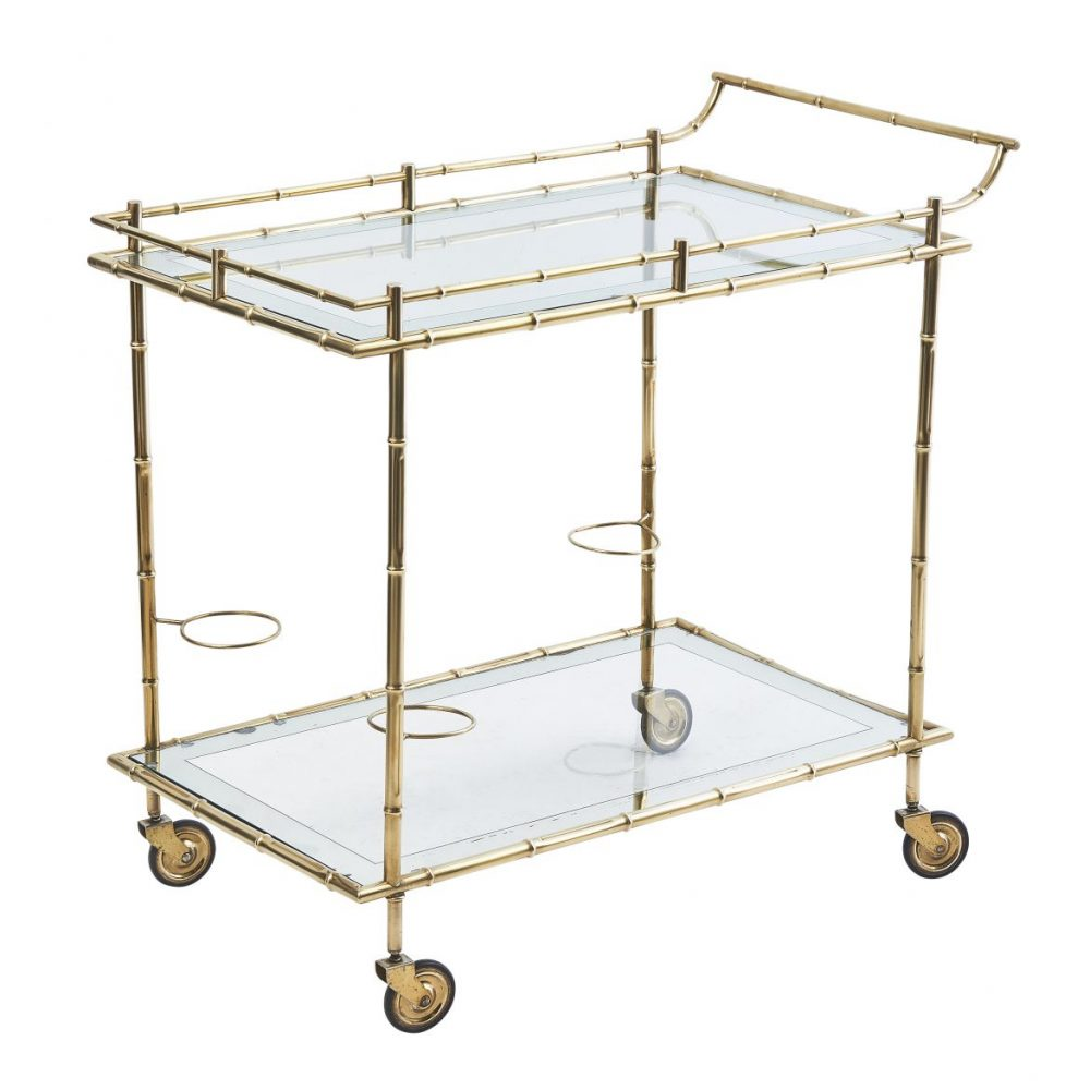 French Brass Faux Bamboo Bar Cart