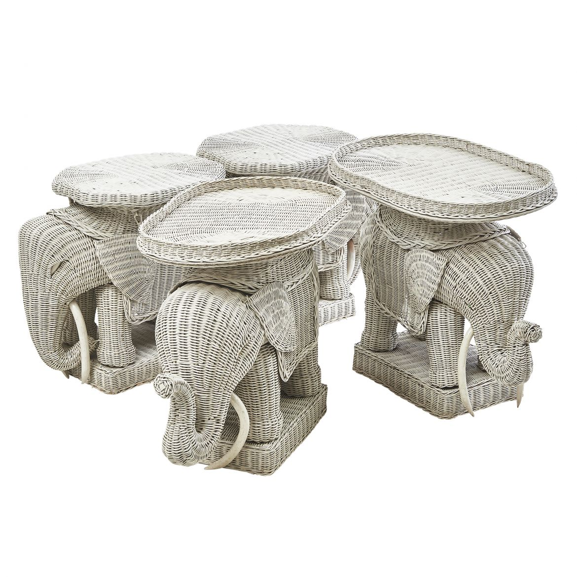 French Wicker Elephant Coffee Table Set