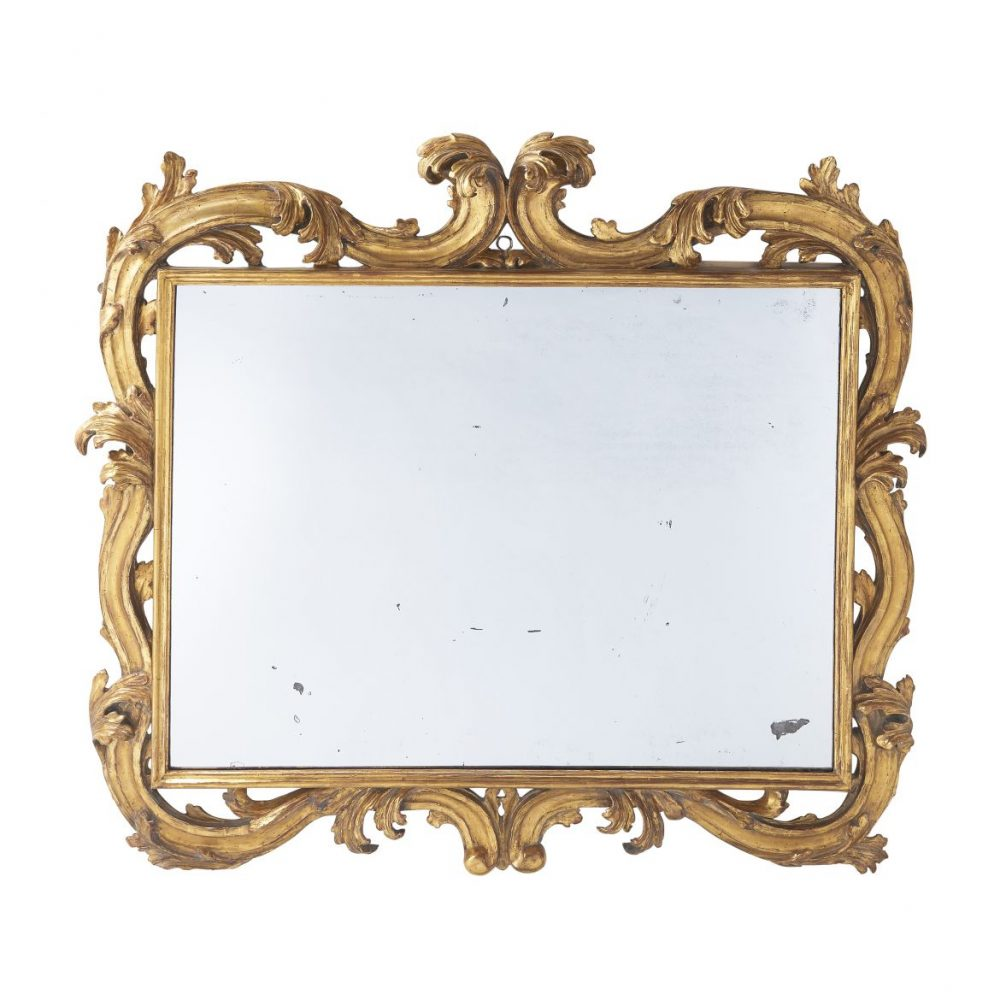 Italian Carved Giltwood Landscape Mirror
