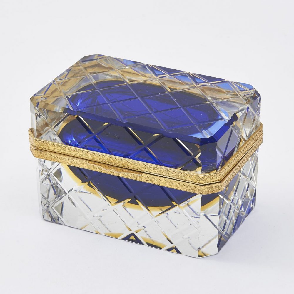 Murano Clear Glass Box With Blue And Amber Glass