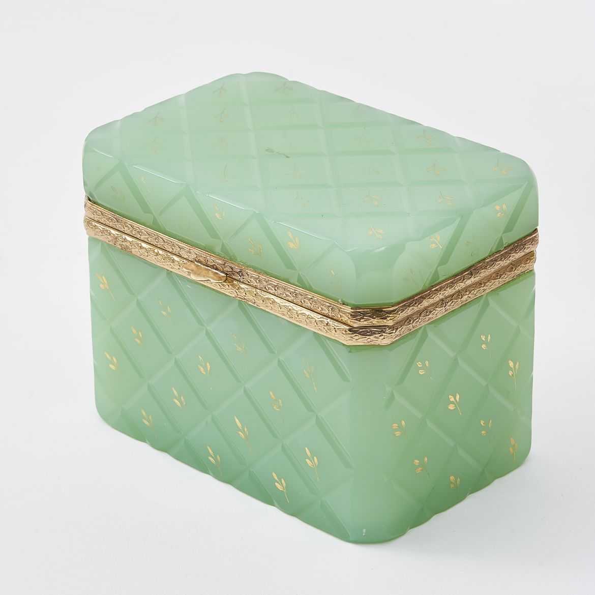 Pale Green Glass Box With Gilt Overlay Decoration