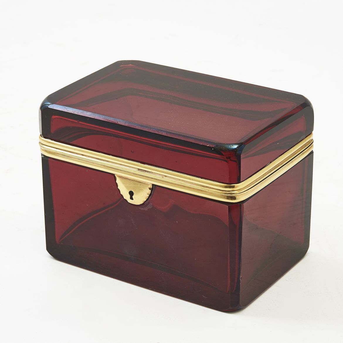 Bohemian Flashed Glass Ruby Red Box