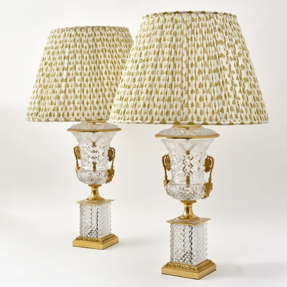 Pair French Empire Style Cut Glass Lamps