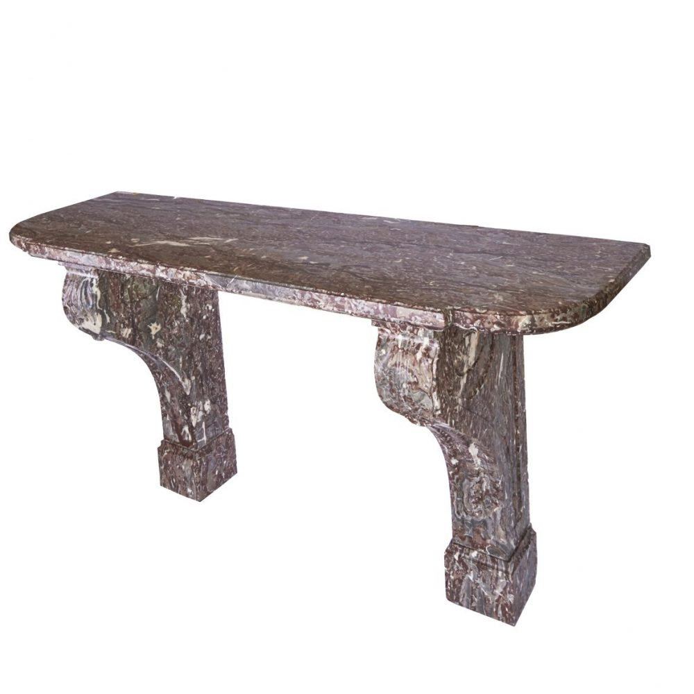 French Louis XVI Style Griotte Rouge Belge Marble Console