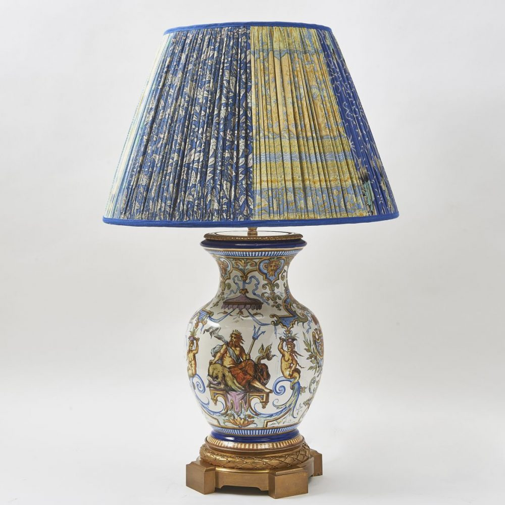 Rouen Faience Vase Wired As Lamp
