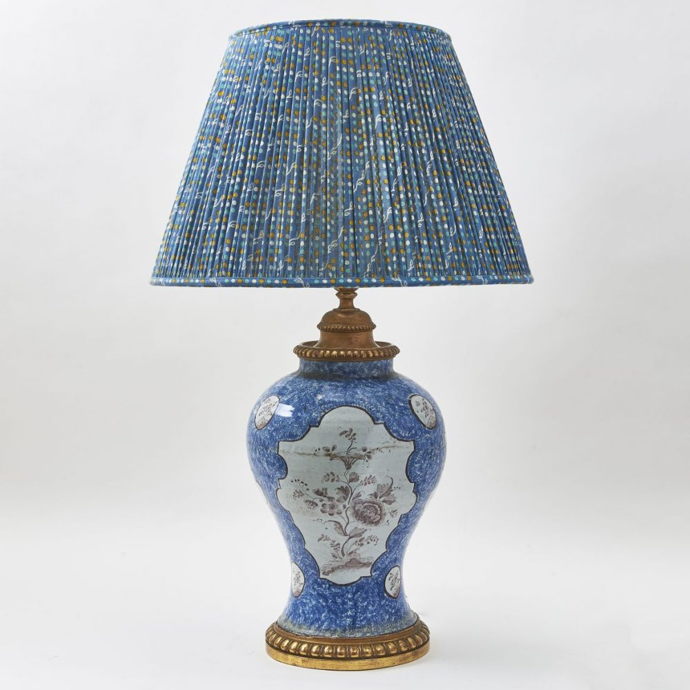 German Blue And White Vase Wired As Lamp
