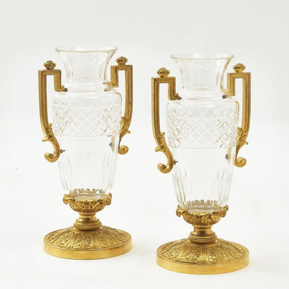 Pair French Ormolu Mounted Cut Glass Vases