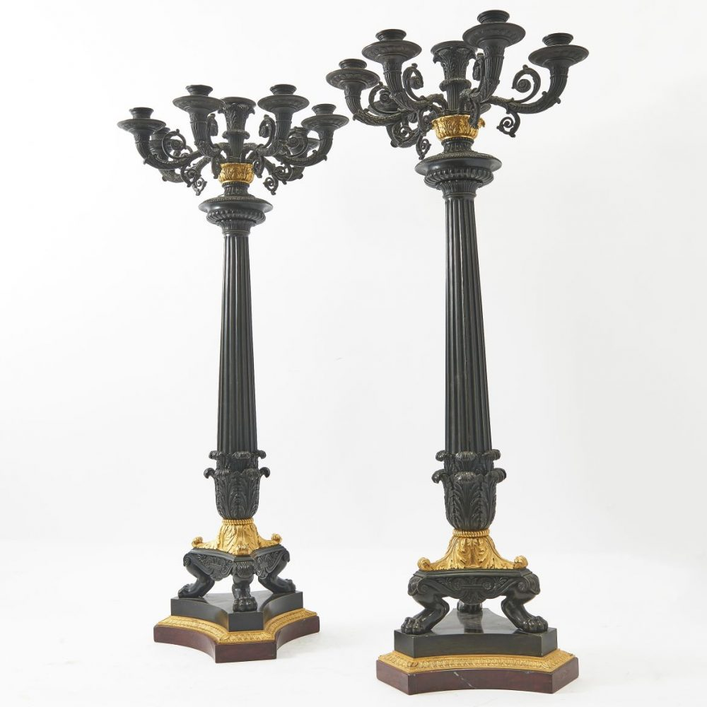 Pair French Large Patinated And Gilt Bronze Candelabra