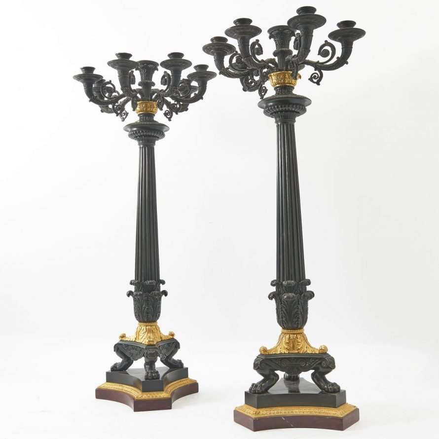 Pair Large French Patinated And Gilt Bronze Candelabra