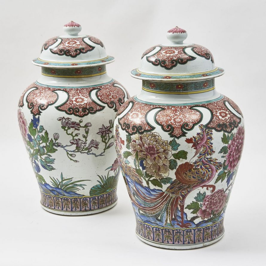 Pair French Samson Famille Rose Temple Jars And Covers