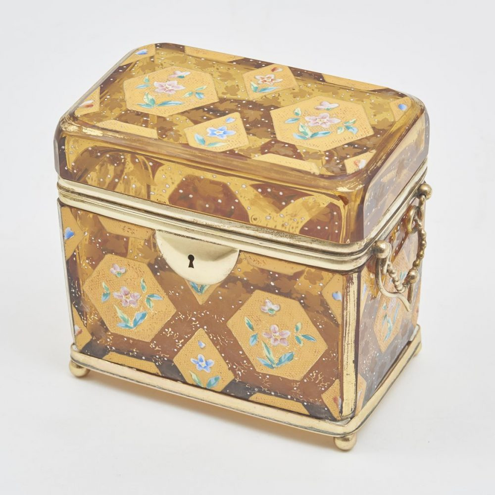 Unusal Bohemian Amber Glass Box Attributed To Moser
