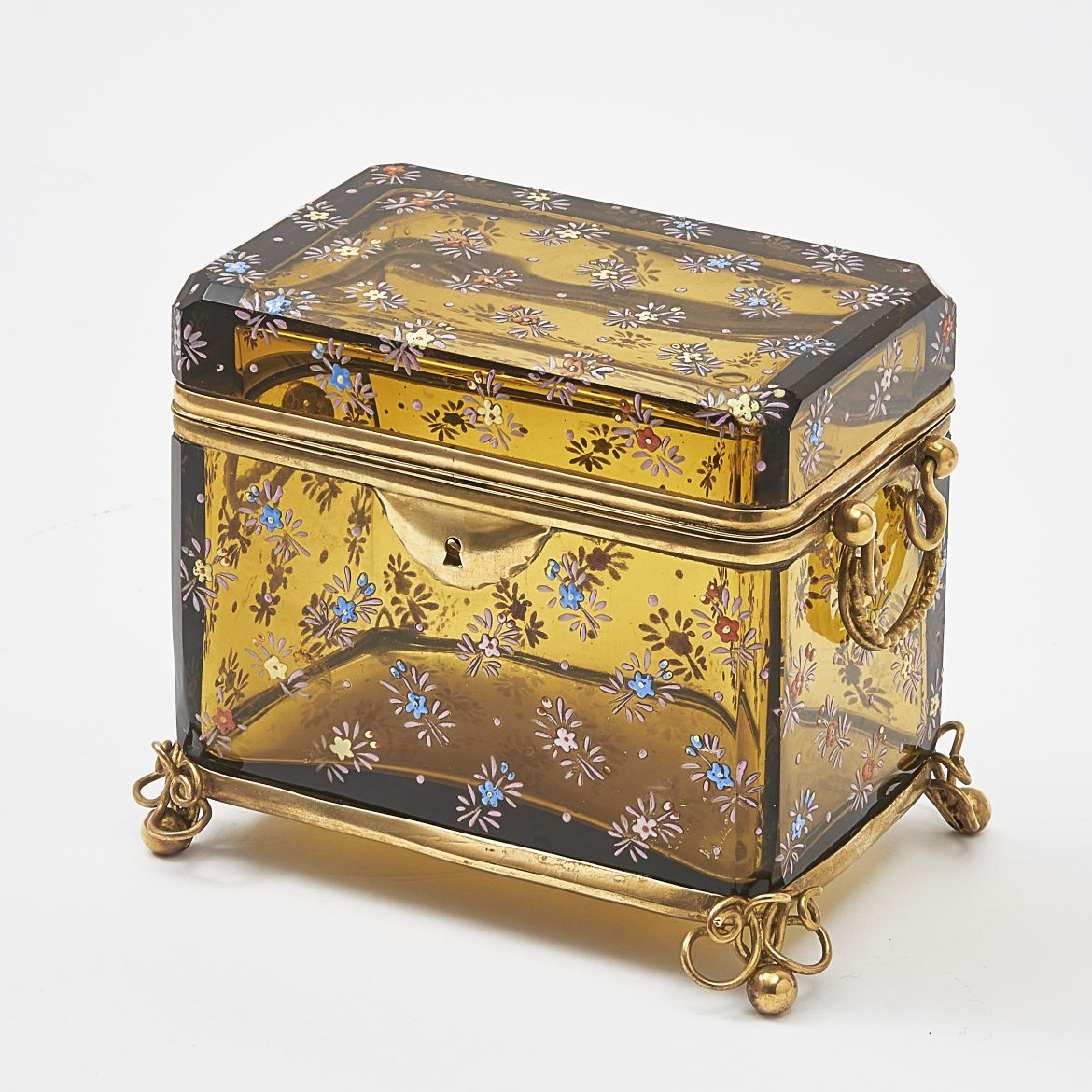 Amber Glass Box With Enamel Floral Decoration Attributed To Moser