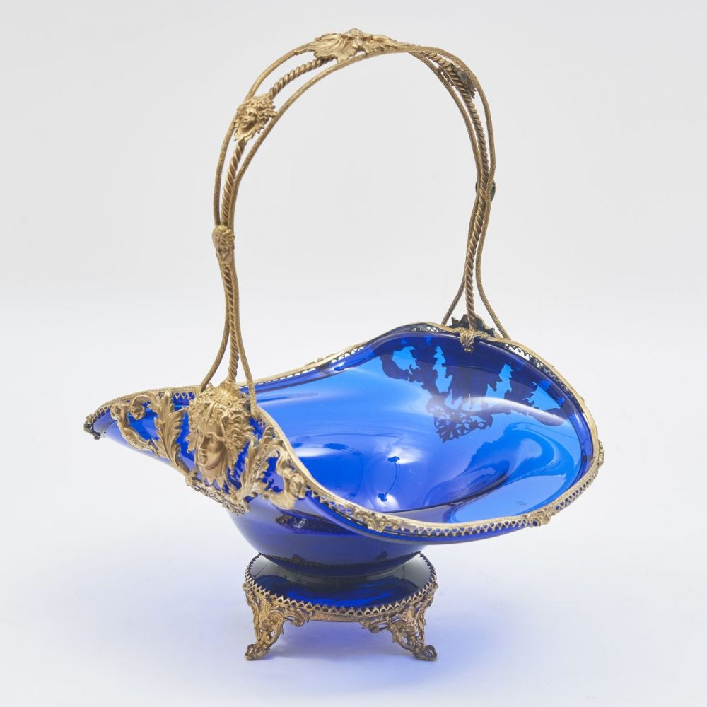 French Blue Glass And Gilt Bronze Basket Shaped Dish