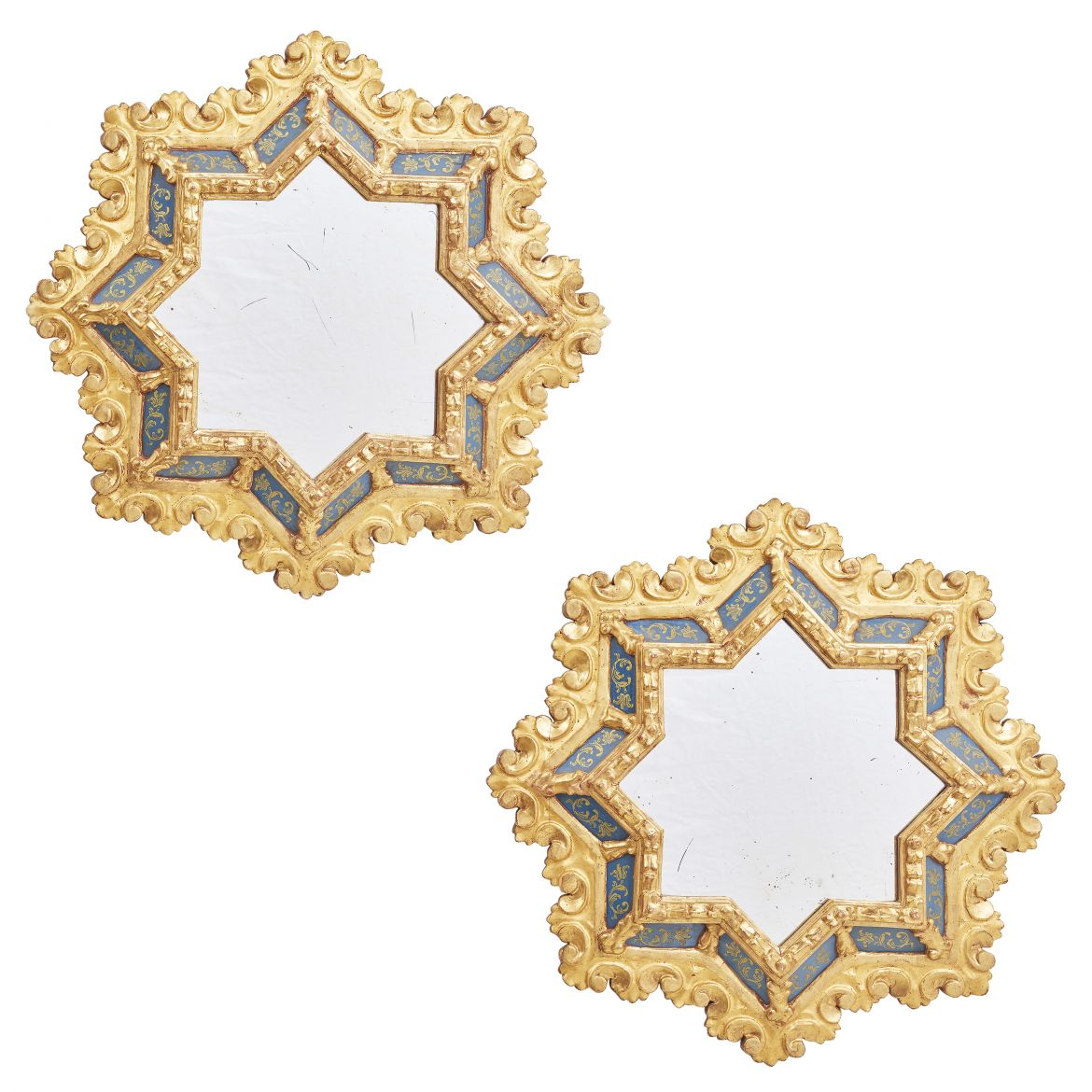Pair Venetian Star Shaped Giltwood And Verre Eglomisée Mirrors