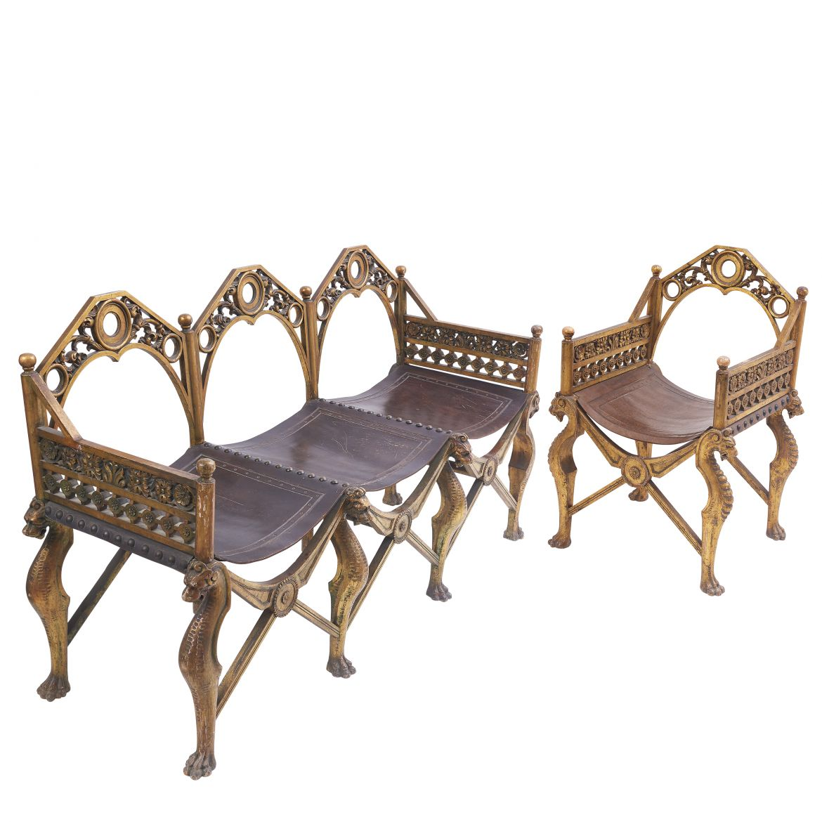 Italian Carved Giltwood Gothic Grotto Sofa And Armchair