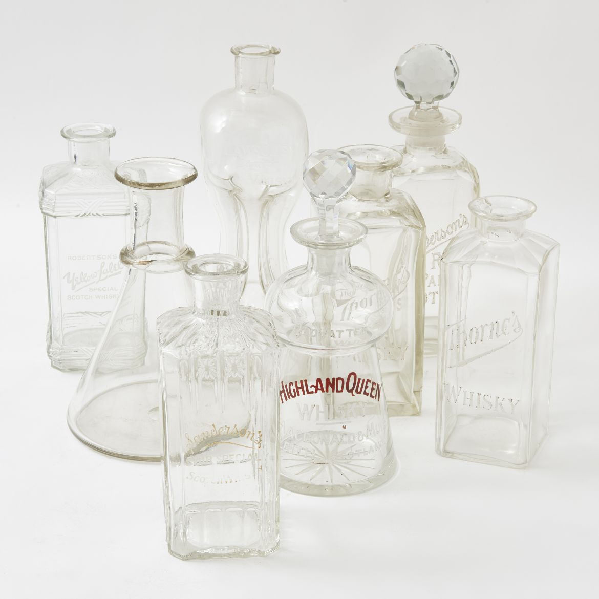 Collection Of Eight Edwardian Whisky Decanters
