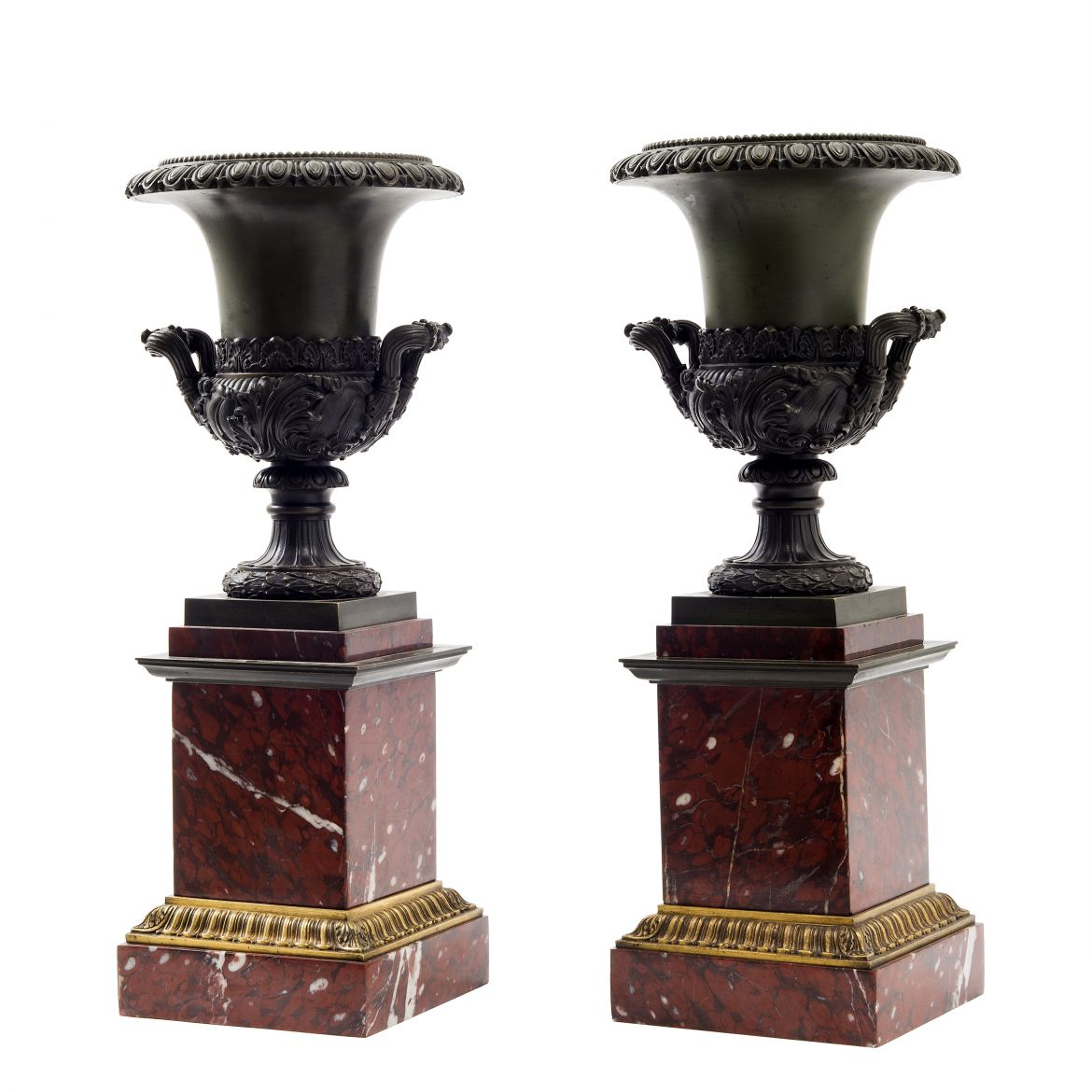 Empire Style Bronze Campana Shaped Urns On Rouge Royale Marble Plinths