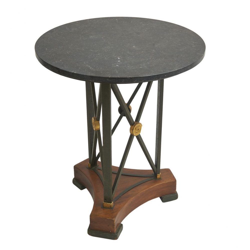 Steel Gueridon With Blue Turquin Marble Top
