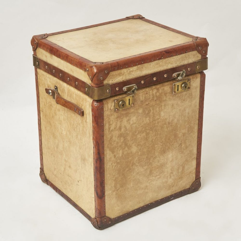 Vintage Vellum Trunk With Brown Leather Trim