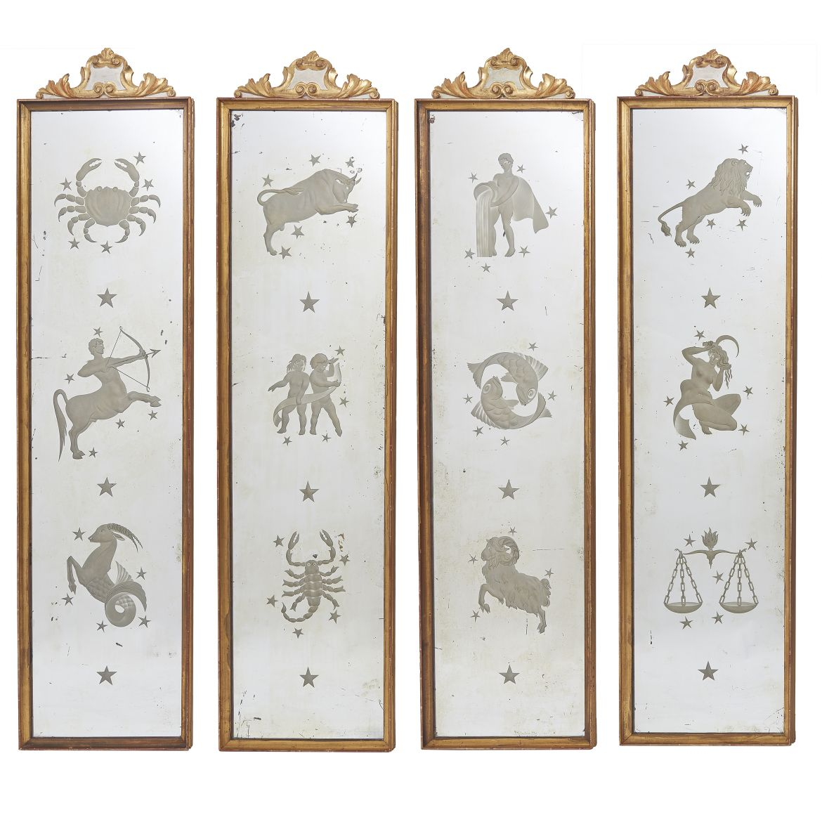 Four French Pier Mirrors Engraved With Signs Of The Zodiac