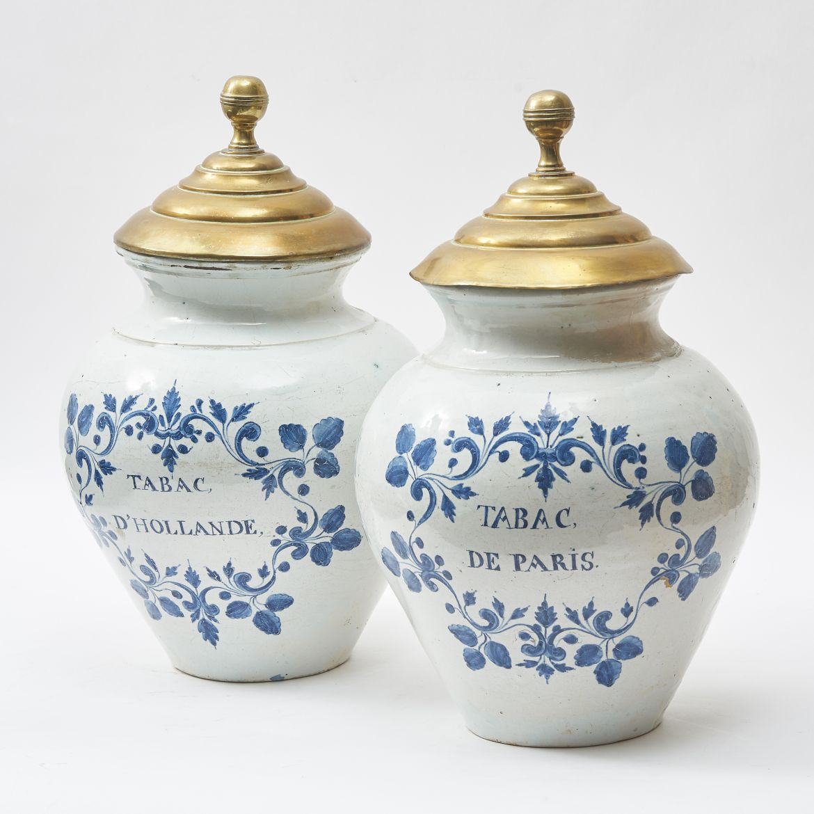 Pair Blue And White Delft Tobacco Jars