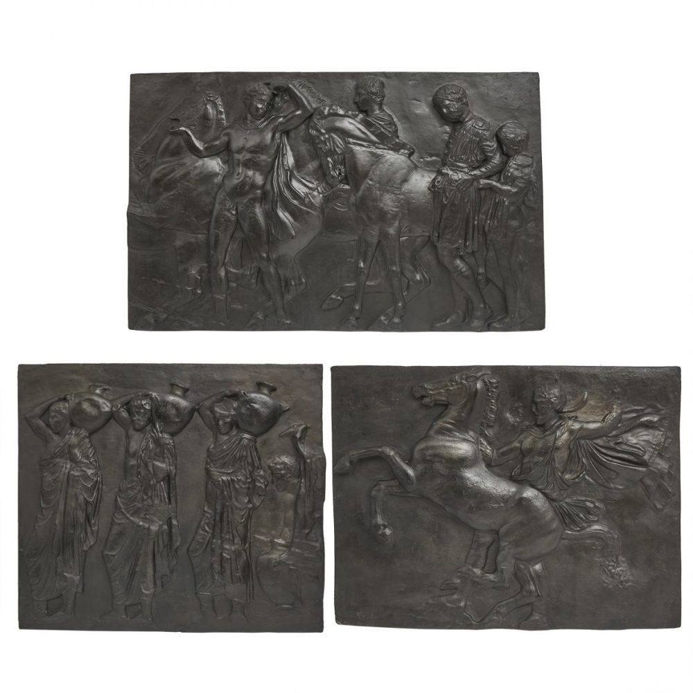Three French Or Belgian Plaster Reliefs Of Classical Scenes In A Bronzed Finish