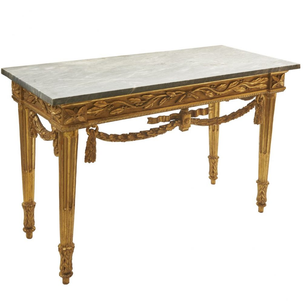 Louis XVI Giltwood Console With Gris Griotte Marble Top