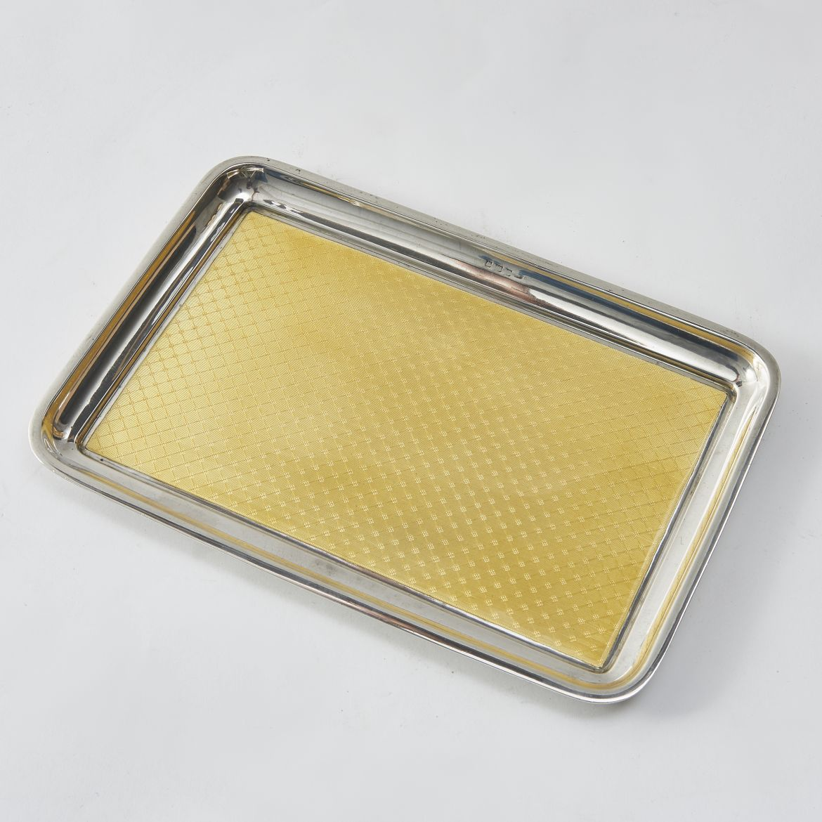 Silver And Yellow Enamel tray