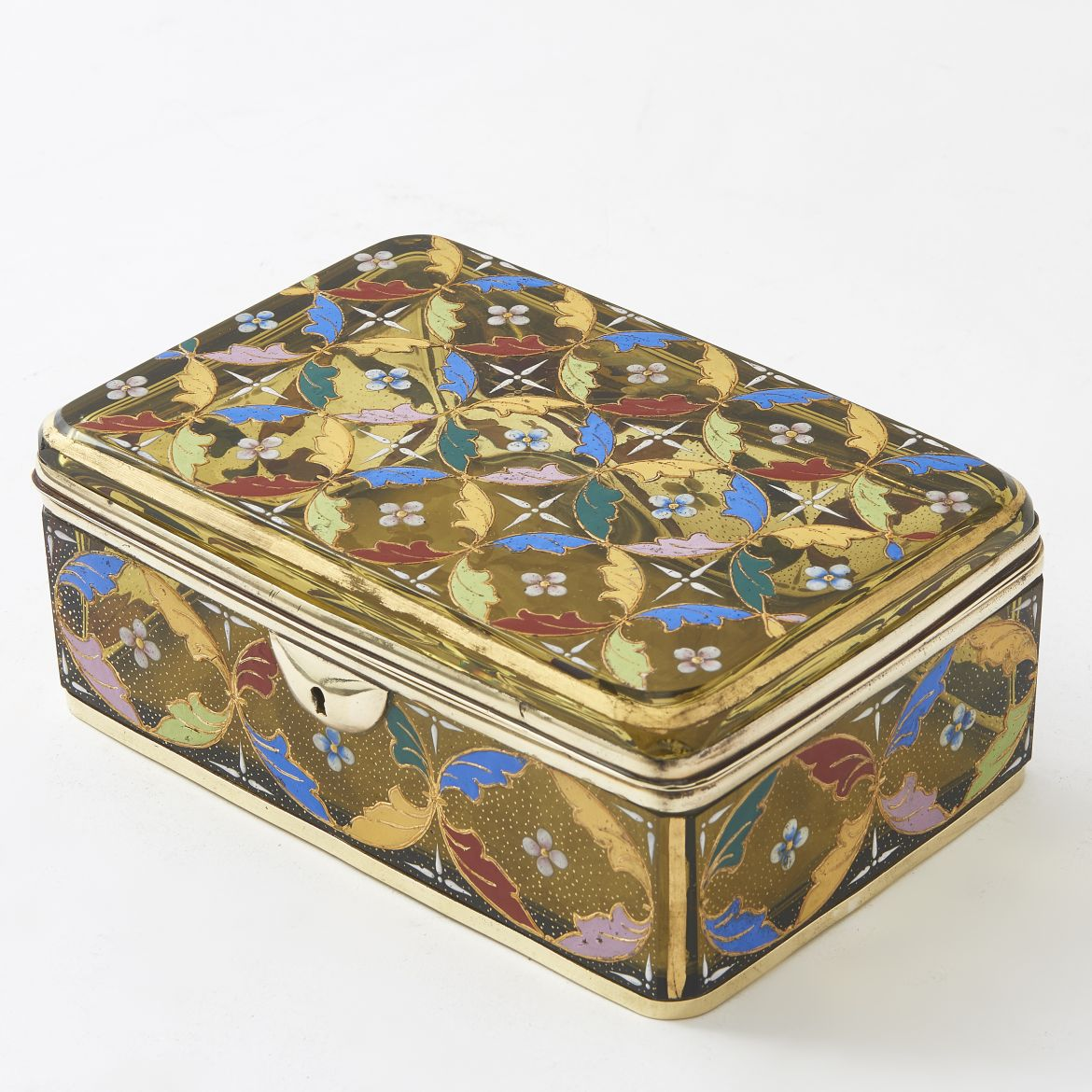 Moser Glass Box With Polychrome Enamel Decoration