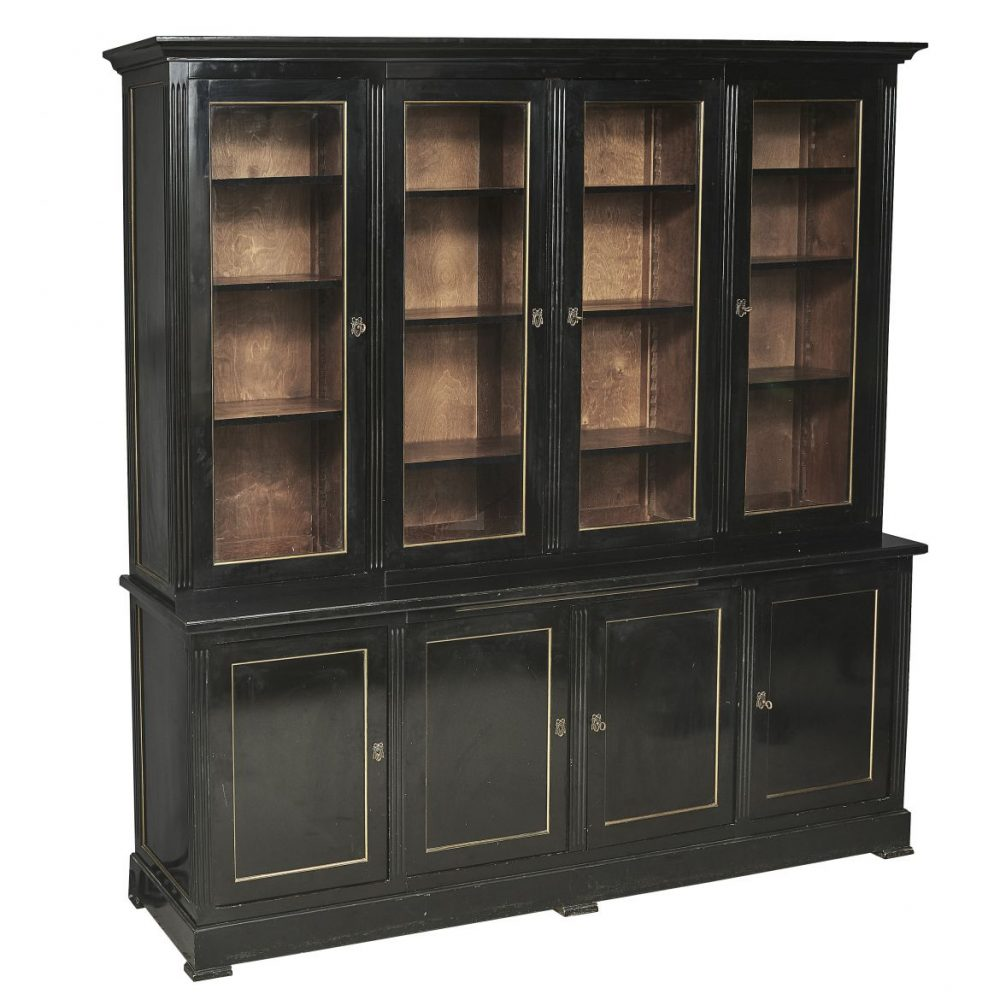 Jansen Style French Black Lacquer Directoire Bookcase