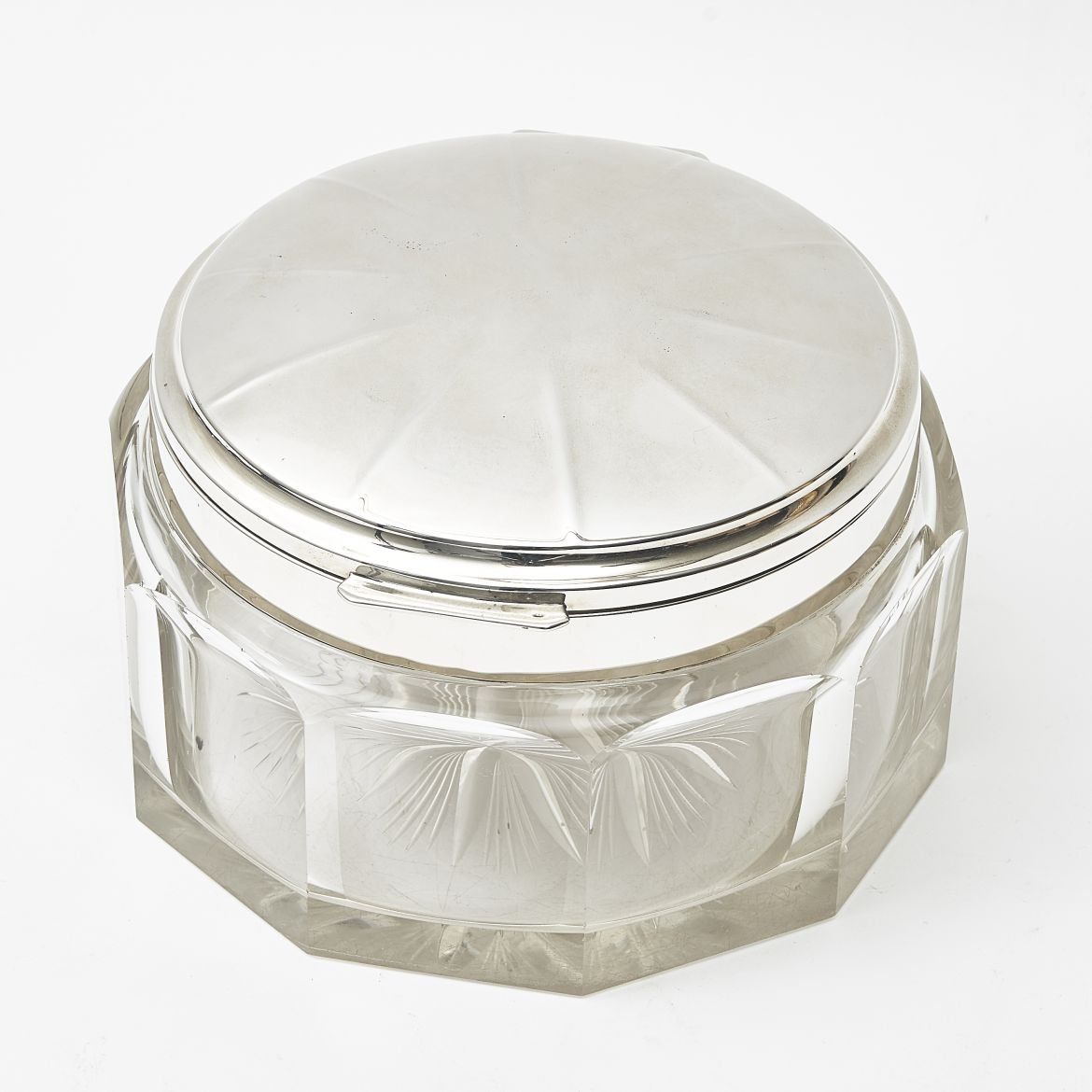 Decagon Shaped German Glass Box With Silver Lid
